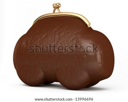leather purse as a car - stock photo