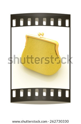 Leather purse on a white background. The film strip