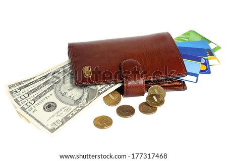 Leather purse with banknotes, coins and credit cards isolated on white background - stock photo