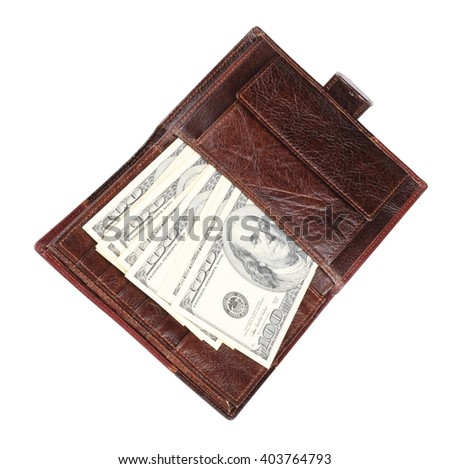 Leather Purse with dollars Isolated