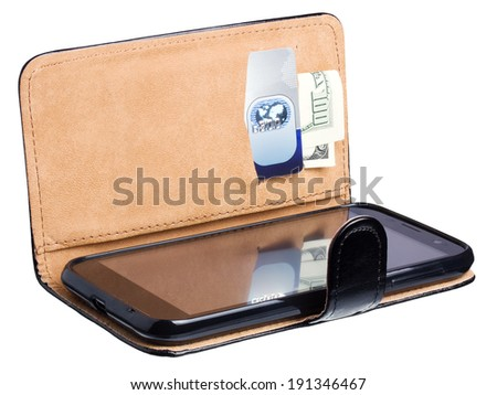 Leather purse with money, credit card and mobile phone isolated on white background