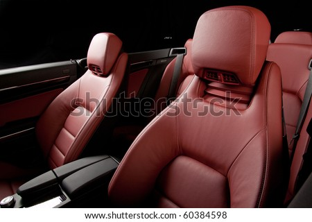 Leather red interior car. - stock photo