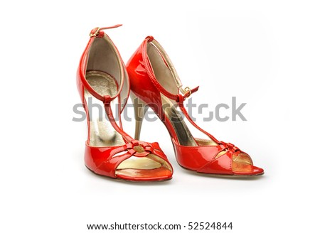 Leather red summer shoes
