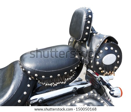 leather seat of ancient motorcycle isolated on white - stock photo