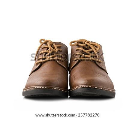 Leather shoes isolated on white background - stock photo