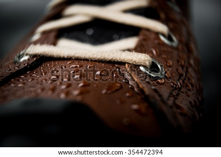 leather shoes waterproof protected brown color with water droplets. High resolution photos - stock photo