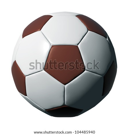 Leather soccer ball isolated on black background.