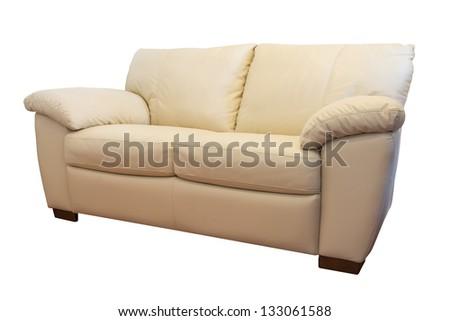 Leather sofa furniture on isolated background - stock photo