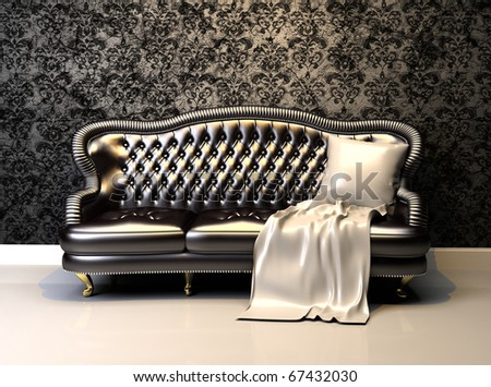 Leather sofa in interior with decoration wallpaper - stock photo