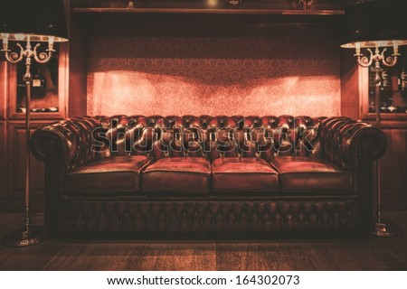 Leather sofa in vintage style luxury interior