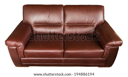 Leather sofa isolated on white - stock photo