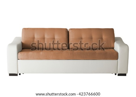 Leather sofa isolated on white include clipping path