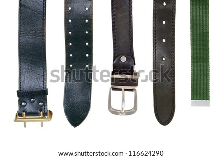 Leather straps on a white background. Fashion, Accessories - stock photo