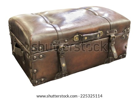 Leather suitcase chest closeup isolated on white. - stock photo