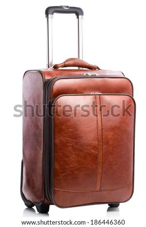 Leather suitcase isolated on white.  - stock photo