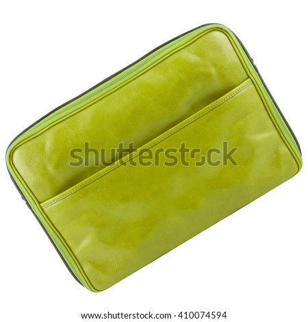 leather tablet computer bag on a white background - stock photo
