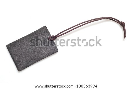 leather tag on white background - stock photo