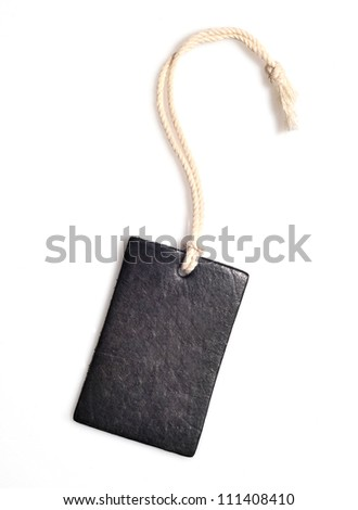 Leather tag or label on white background