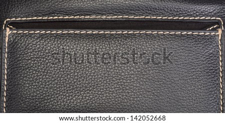Leather texture colose-up with linear stiches - stock photo