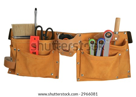 Leather tool belt full of tools isolated with clipping path - stock photo