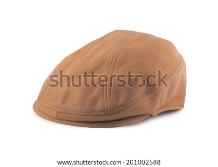 leather tweed/twill golf cap isolated on white - stock photo