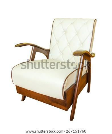 leather vintage sofa in retro style isolated on white background - stock photo