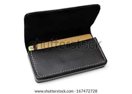 Leather visiting card holder on white background - stock photo