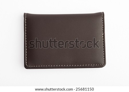 Leather visiting card holder with thread stitches closed isolated on white background