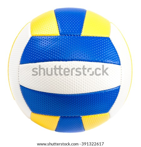 Leather volleyball ball isolated on white background.