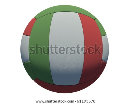 leather volleyball ball on isolated background (italian skin) - stock photo