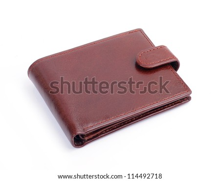 leather wallet against white background - stock photo