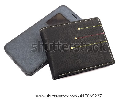 leather wallet and mobile phone