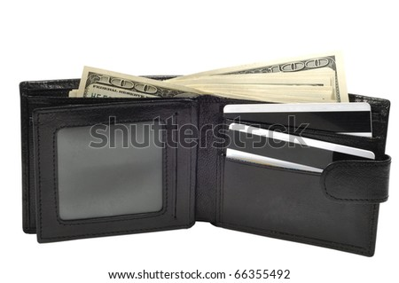 Leather wallet full of dollars, with clipping path