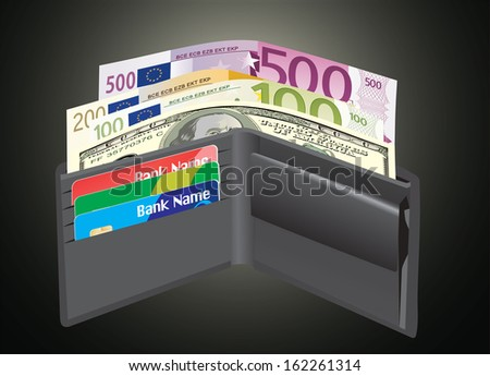 Leather wallet,inside, with bank cards and money.