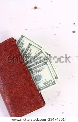 Leather wallet,inside, with dollars money - stock photo