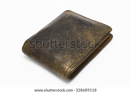 leather wallet isolated on white background - stock photo