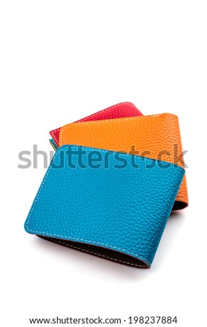 Leather wallet isolated white background