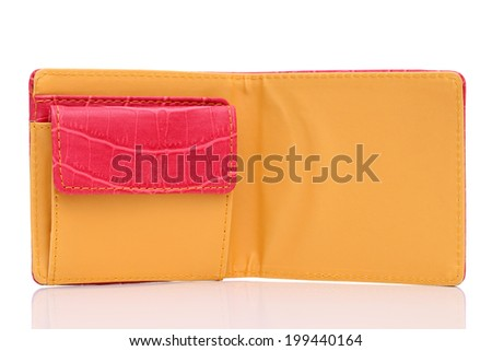 leather wallet on a white background  - stock photo