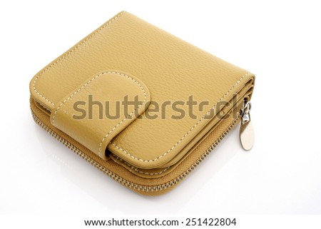 Leather wallet on white background - stock photo