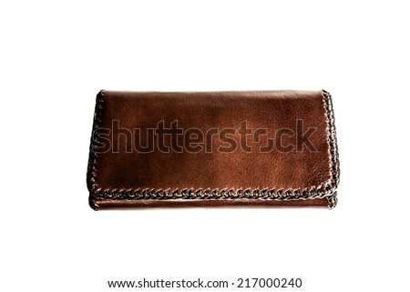 Leather wallet on white background,women leather wallet