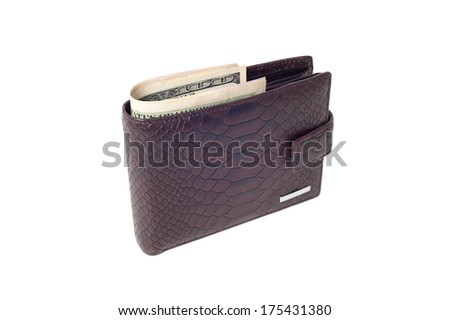 leather wallet with banknotes isolated on white - stock photo