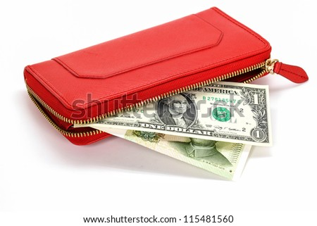 Leather wallet with  banknotes on white background - stock photo