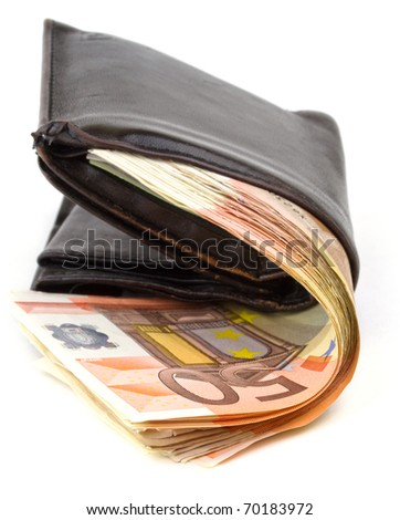 Leather wallet with 50 euro banknotes - stock photo