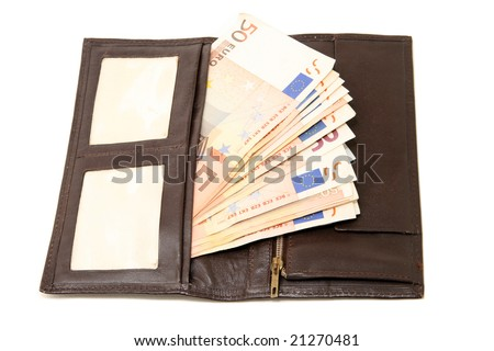 leather wallet with fifty euro banknotes isolated on white background