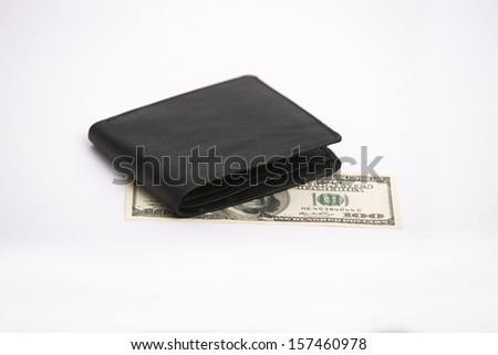 Leather Wallet with Money - stock photo