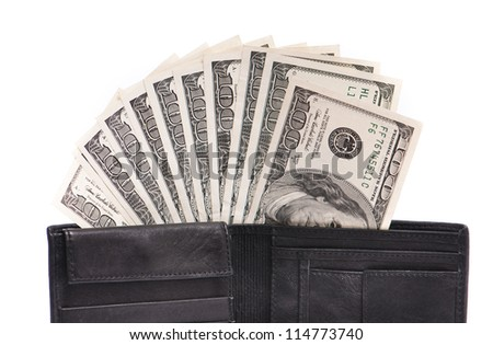 Leather wallet with some dollars on a white background