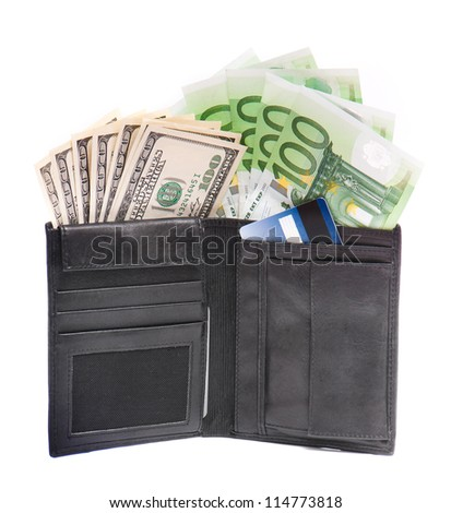 Leather wallet with some euros and dollars on a white background