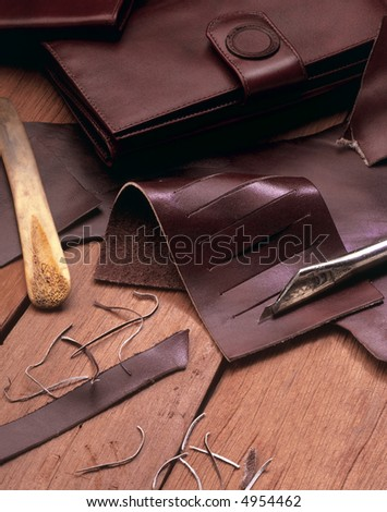 leather wallets maker tools still life