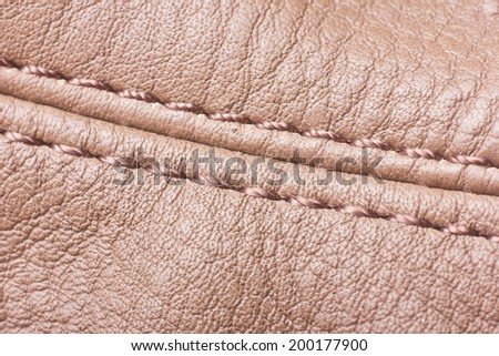 Leather with sew texture. - stock photo