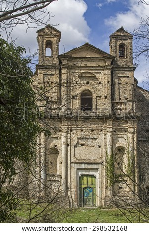 Leave forfeited and empty - old baroque church to decay and vandalism - stock photo